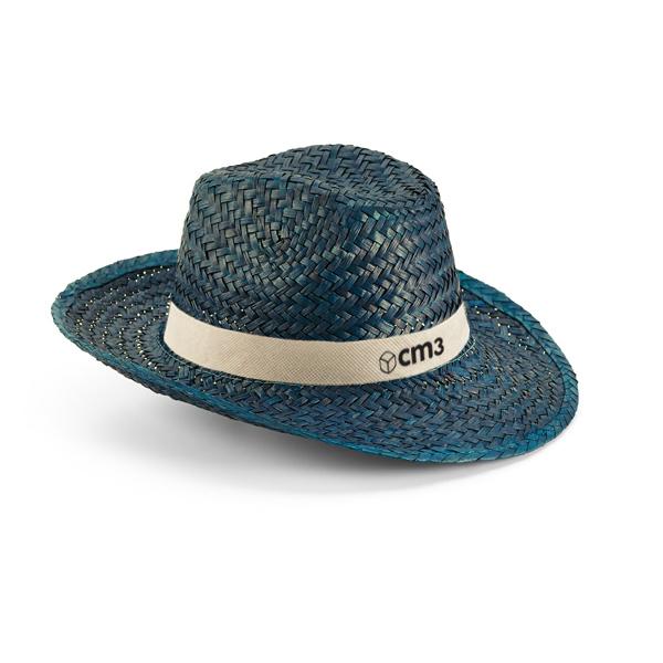 Brindes Personalizados - Chapéu Panamá Palha Natural Azul