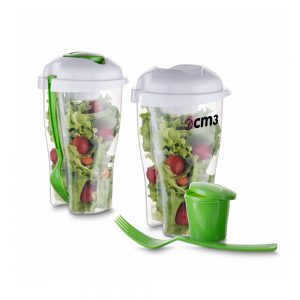 Brindes Personalizados - Copo para Salada, Garfo e Molheira 800ml