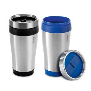 Brindes Personalizados - Copo Inox e Plástico com Tampa 420ml