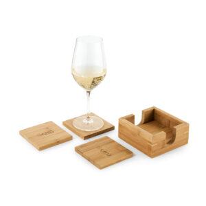 Brindes Personalizados - Kit de 4 Porta Copos de Bambu