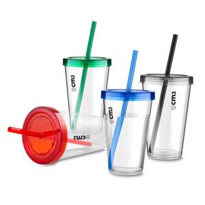 Brindes Personalizados - Copo Plástico c/ Tampa e Canudo 600ml